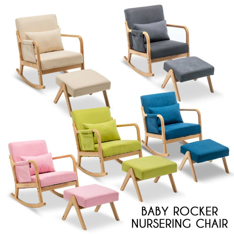 Upholstered Rocking Accent Chair Baby Glider Rocker w/ Ottoman Stool Padded Seat