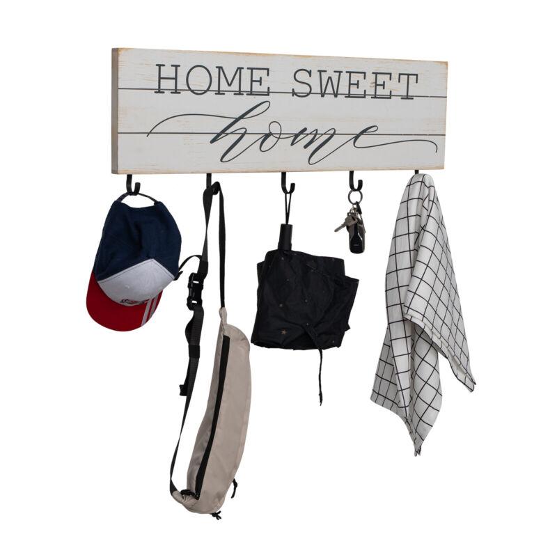 5 Hook Wall Mounted Key Rack Hanger Holder Chain Coat Hat Storage Organizer Home