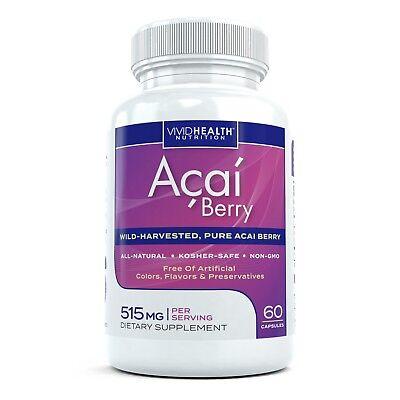 Vivid Nutrition BEST Premium Acai Berry Antioxidant Superfood Supplement 60