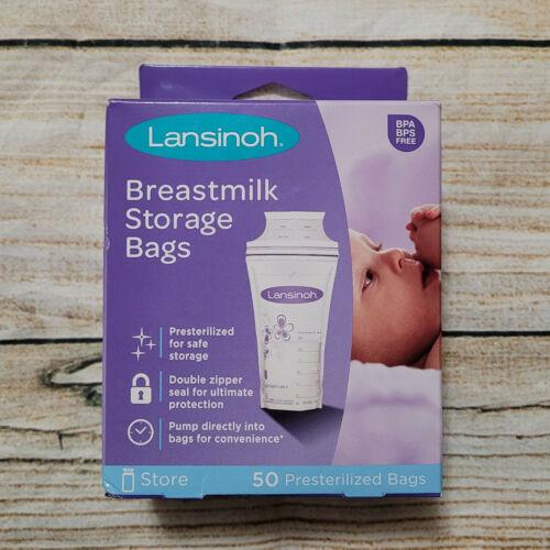 50 Count Lansinoh Presterilized Breastmilk Double Zipper Freezer Storage Bags