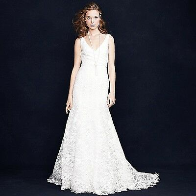 "J CREW SARA WEDDING GOWN 4 LACE FORMAL IVORY MERMAID LOW ""V"" 94389 NWT $2,200"