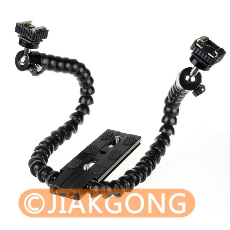 Flexible Dual-arm Dual-shoe Flash Bracket for MACRO SHOT for CANON NIKON PENTAX