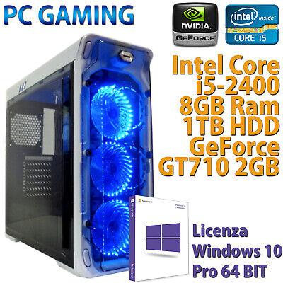 PC COMPUTER DESKTOP DA GIOCO GAMING CORE i5-2400 RAM 8GB HDD 1TB VGA GT710 2GB