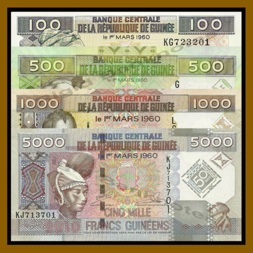 Guinea 100 500 1000 5000 Francs (4 Pcs Full Set), 1998-2010, P-35/39/43/44 Unc