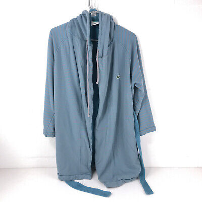 LaCoste women's cotton robe women's teal gray stripes excellent condition jkt10