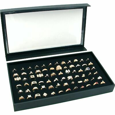 72 Ring Black Jewelry Box Display Case Magnetic Lid