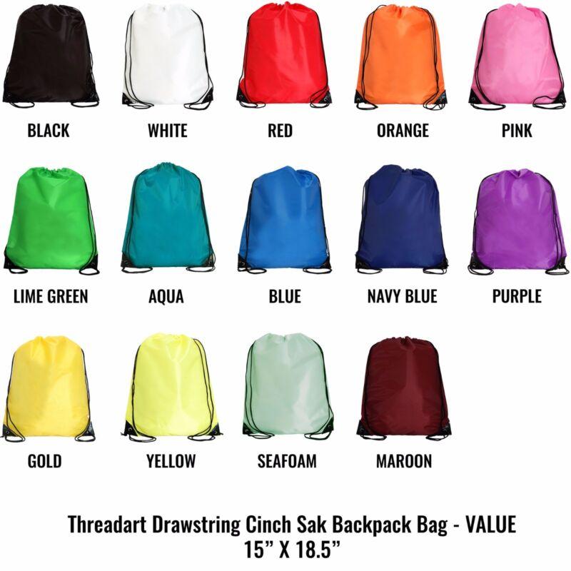 Drawstring Backpacks - Pack of 10 | Cinch Sacks - 14+ Color Options - Threadart