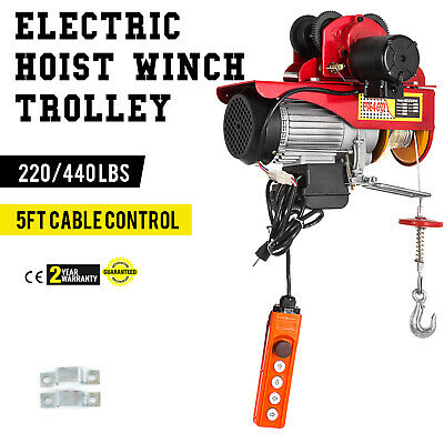 Electric Wire Rope Hoist W Trolley 220lb440lb A3 Steel Industrial 110v