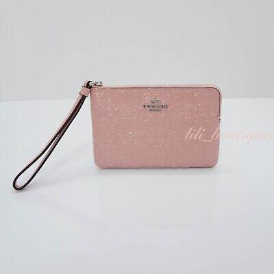 - NWT Coach F58034 Corner Zip Wristlet Logo Debossed Patent Leather Petal Pink $85