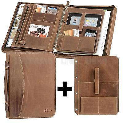 Konferenzmappe A4 Leder braun Ringbuchmappe Schreibmappe + Tablet-Einleger