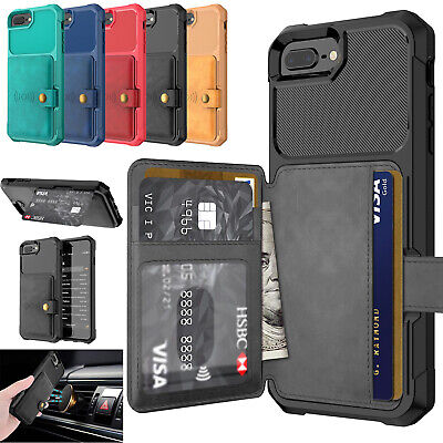 Luxury Leather Car Holder Magnetic Card Wallet Case Cover for iPhone XS 7 8 6s -