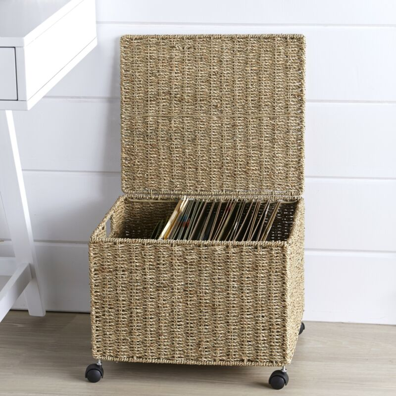 Seagrass File Organizer Basket with Rolling Caster Wheels and Top Flap