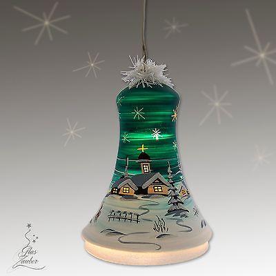 Beleuchtete Glocke petrol aus Glas mundgeblasen und handbemalt 18cm Höhe Lauscha