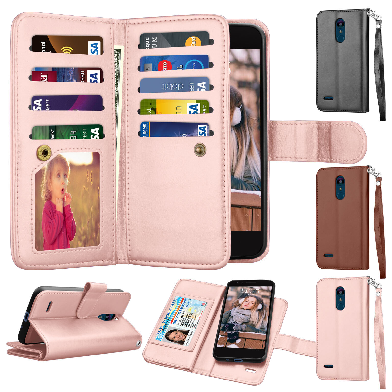 For LG Aristo 2 Plus /Aristo 3 /Rebel 4 LTE /Phoenix 4 Leather Wallet Case Cover Cases, Covers & Skins