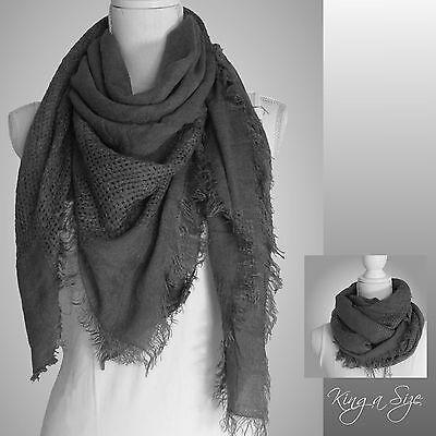XL Tuch / Wintertuch Wrap Plaid Blanket Scarf - Kuschelweich -  grau