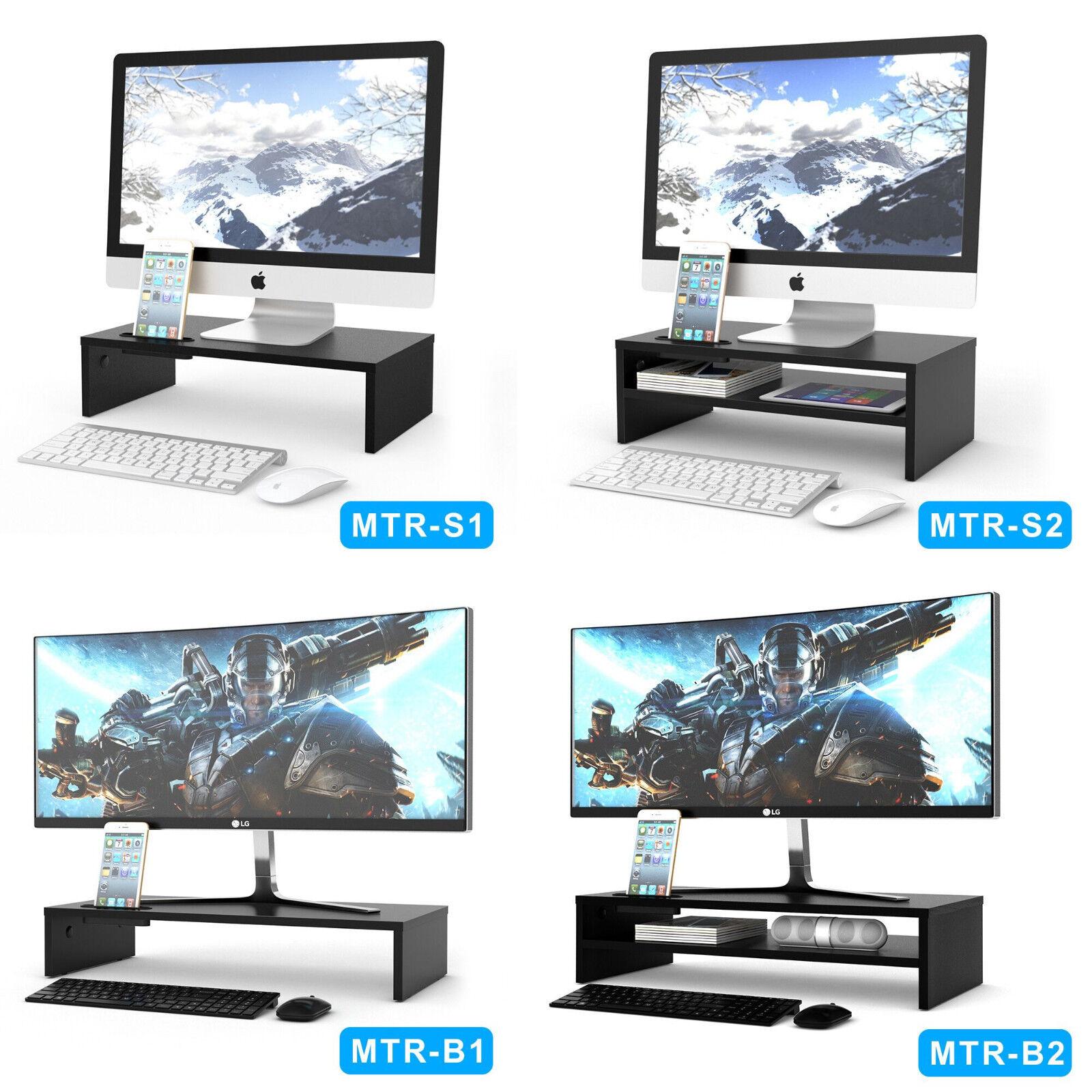 legno MONITOR STAND ALTOPARLANTE TV PC PORTATILE COMPUTER saliscendi scrivania