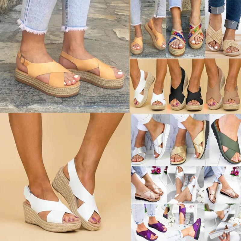 Damen Sommer Keilabsatz Plateau Wedges Sandalen Zehentrenner Schuhe Hausschuhe