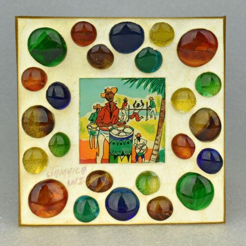 VTG Multicolored Bubble Droplet Glass Jamaica Souvenir Trinket Dish Ashtray