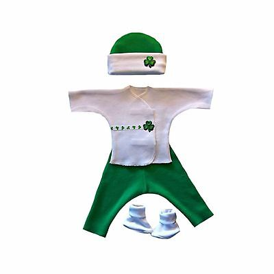 Irish Baby Outfits - Luck of the Irish Baby Boy 4 Piece Clothing Outfit - 4 Preemie and Newborn Sizes
