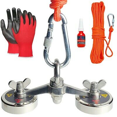 Max Magnets Fishing 600 Lbs Pull Comb. Force Double Bracket Kit Gloves