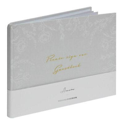 Amore Gris Floral Libro de Invitados Boda 40 Páginas