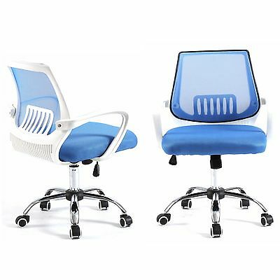 Computer Office Desk Chair Commercial Drafting Task Ergonomic Seat Mesh - Blue