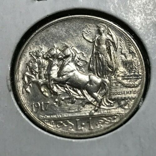 1917-R ITALY  SILVER ONE LIRE NEAR UNCIRCULATED COIN