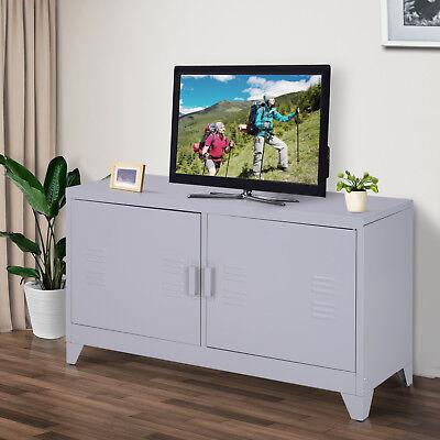 HOMCOM Industrial TV Cabinet Stand Media Center Steel Shelf Doors Storage Grey