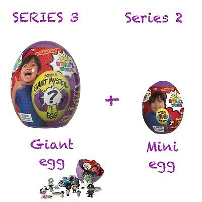 Ryan's World Giant Mystery Series 3 Egg Surprise -Super + Mini Egg Series 2 NEW