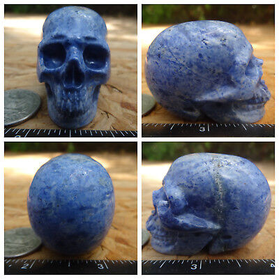 """2.06"""" Dumortierite Skull Carved Stone 101.2g 3.6oz Crystal Healing Realistic"""