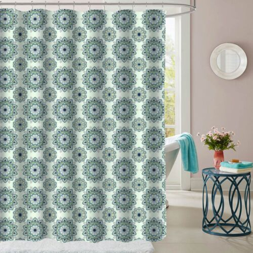 Ashley Green Mandala Pattern Fabric Bathroom Shower Curtain 70″x72″ Bath