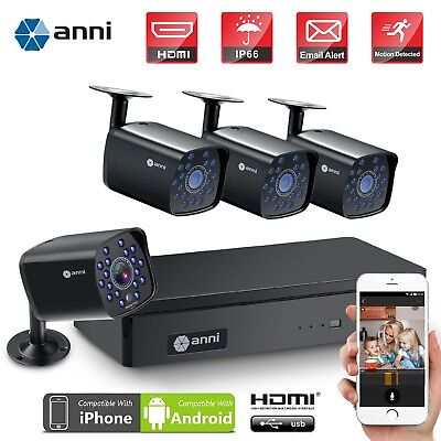 anni 4CH 1080N DVR Video Record 1500TVL Outdoor Home CCTV Security Camera System