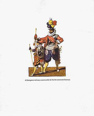 Uniform European Military Commander of 17th Century - 1955 Lithograph