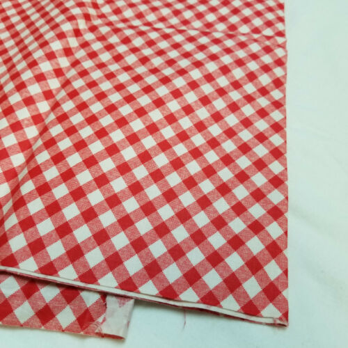 """Vintage Red & White Checkered Gingham Cotton Sewing Quilt Fabric 96"""" x 35"""""""