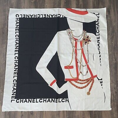 CHANEL VTG Black White Necklace Belt Chain Lady Print Pattern Silk Square Scarf Vintage Scarf & Chain Necklace