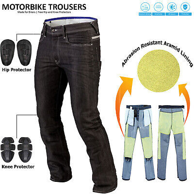 Vintage Men's Motorcycle Motorbike Denim Trousers Pants Protection Lined Jeans