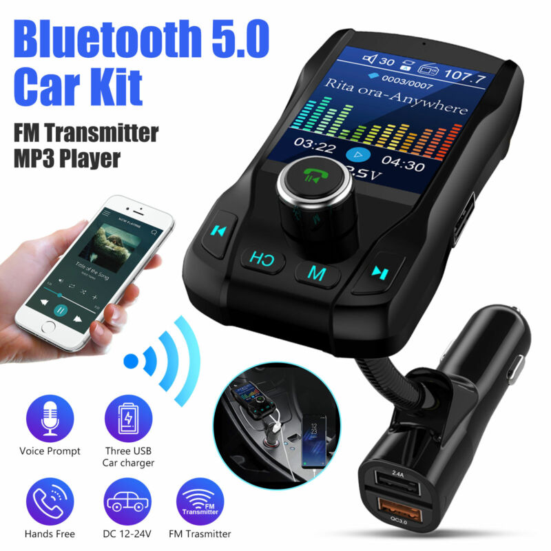 Wireless Bluetooth 5.0 FM Transmitter MP3 Hands-free Radio AUX Adapter Car Kit