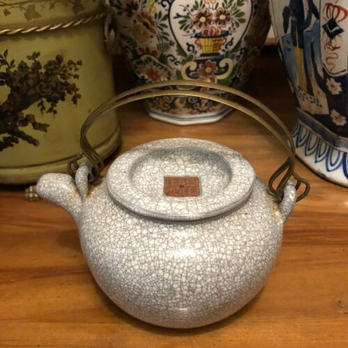 Lovely Chinese Signed Yixing Celadon Teapot with Crackle Glaze