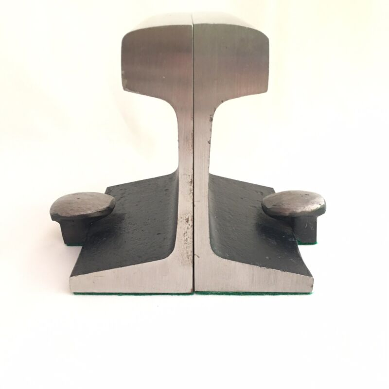 Vintage Heavy Railroad Track Bookends Spike Heads Paperweight Anvil Steel