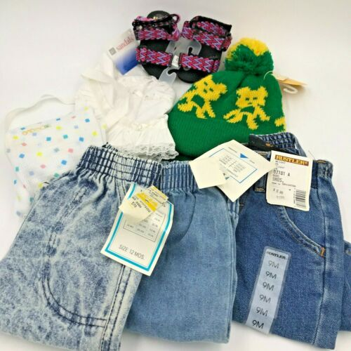 Vintage 1990s Baby Clothes Jeans Sandals Lot of 7 Newborn to 12 mos NWT NWOT KC