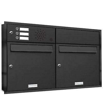2er Premium Unterputz Edelstahl Briefkasten Anlage 2 Fach V2A Postkasten A4