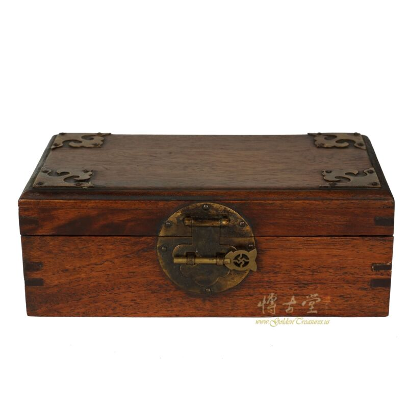 Vintage Chinese Rosewood Hand made Jewelry Box