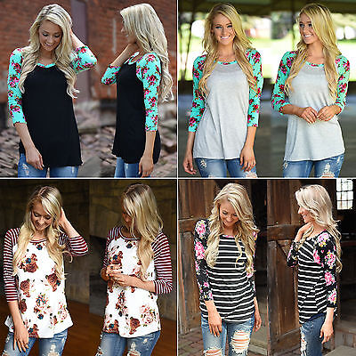 Womens Crew Neck Loose Tee Tops Striped Floral 3/4 Sleeve Blouse Casual T-Shirt