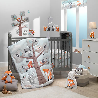 Bedtime Originals Woodland Friends 3-Piece Animals Mint/Gray Crib Bedding Set