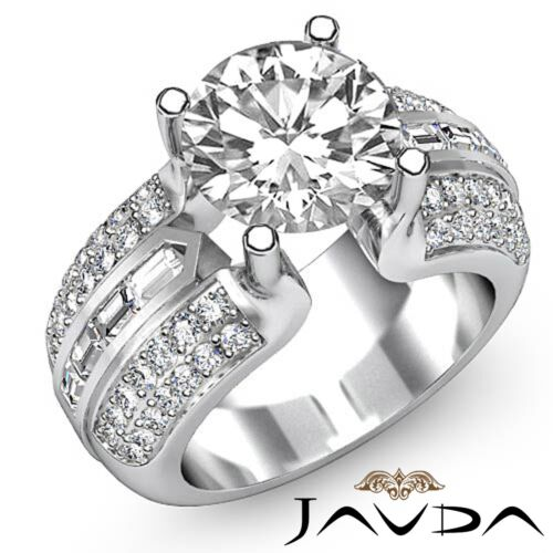 2.65ct Round Diamond Engagement Pave Channel Set Ring GIA F VS2 14k White Gold