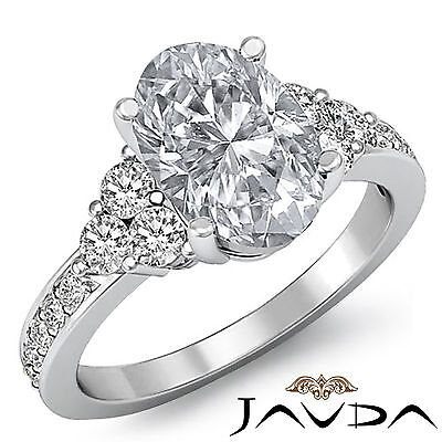 Shared Prong 3 Stone Oval Cut Diamond Engagement Ring GIA Certified H VS2 1.5Ct