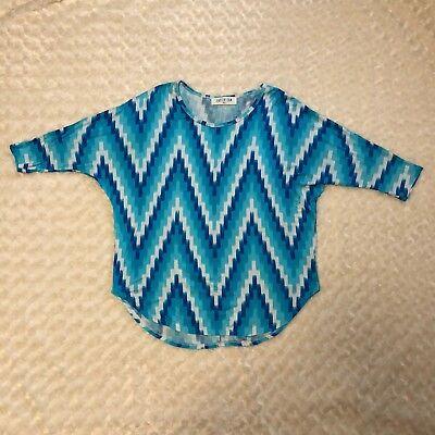 Peace Love Cream California Women's Boutique Clothing Top Shirt Geometric Blue Blue Cream Clothing