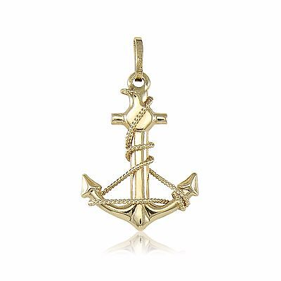 14K Yellow Gold Anchor Pendant - Mariner Nautical Rope Necklace Charm Men Women