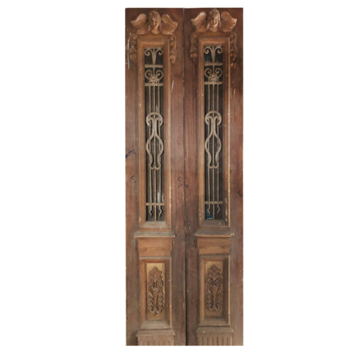 """Pair of 33"""" Antique Figural Doors with Iron Inserts, NED1105"""