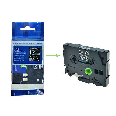 Tz-335 Tze-335 Tz335 White On Black Label Tape 12 For Brother P-touch Pt-300